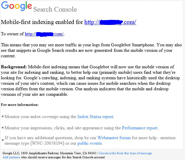 google mobile-first indexing notifications by google